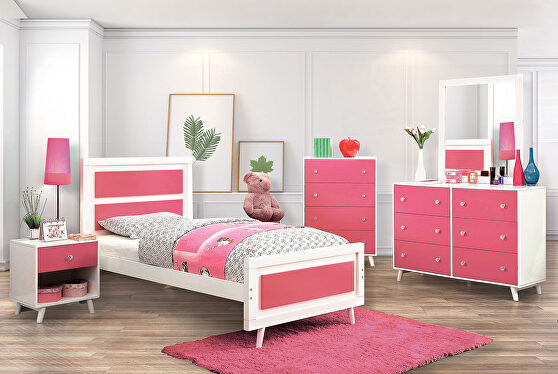 White/pink finish wood contemporary bed