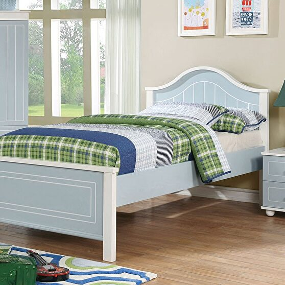 Blue & white finish contemporary style youth bed