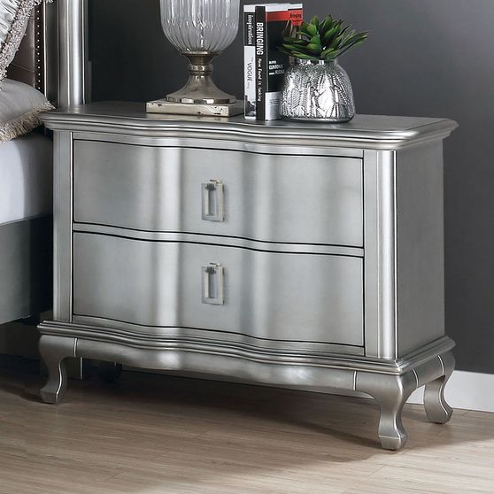 Transitional style silver glam night stand
