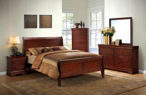 5pcs cherry finish casual style bedroom set