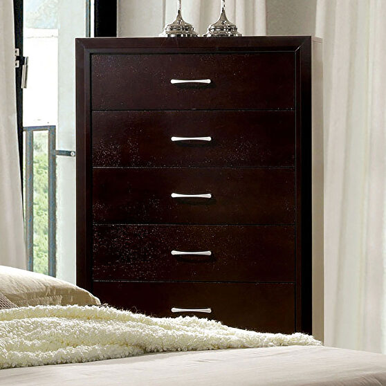 Generous storage and silver hardware accents chest