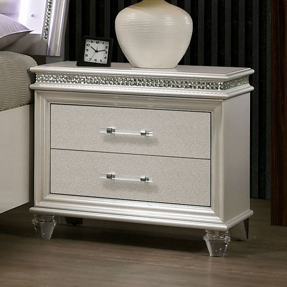 Pearl white night stand w/ crystal & mirror accents
