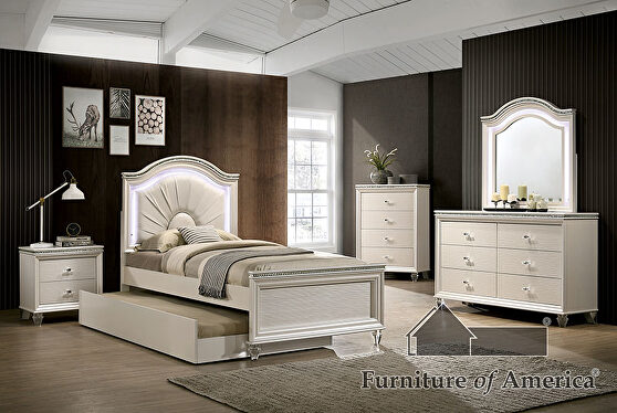 Acrylic & mirror accents pearl white finish youth bedroom