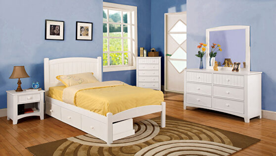Cottage style gray finish youth bed