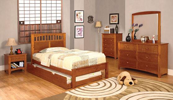 Oak finish paneled headboard youth bed
