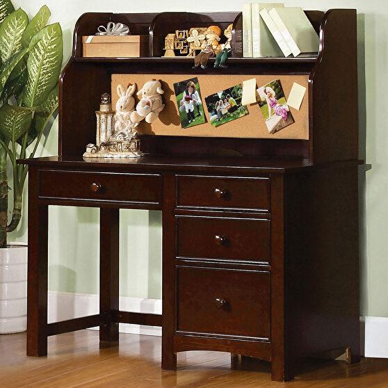 Dark walnut finish solid wood transitional desk