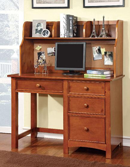 Oak finish solid wood transitional desk