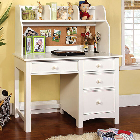 White finish solid wood transitional desk