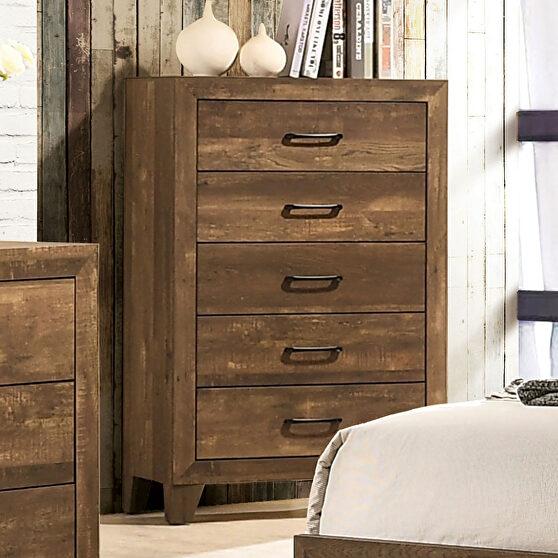 Light walnut wood grain finish rustic chest