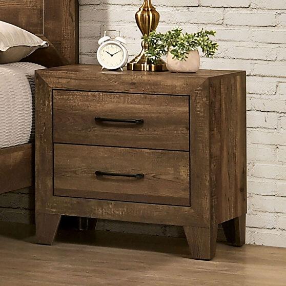Light walnut wood grain finish rustic nightstand