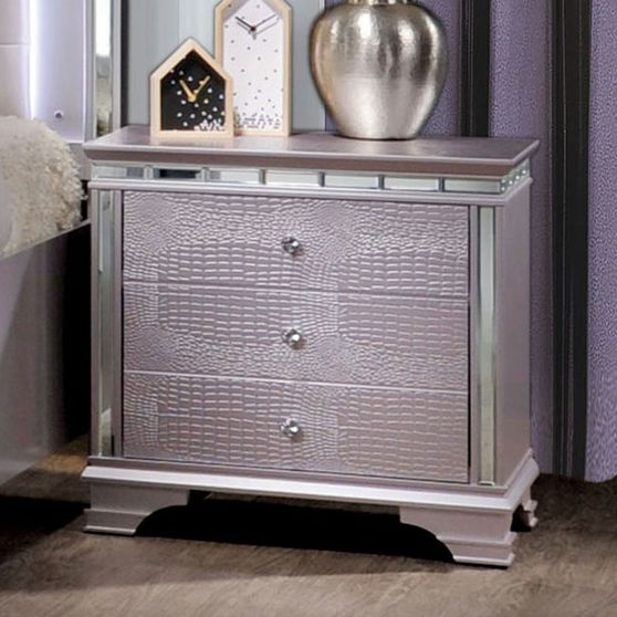 Mirrored / crocodile accents night stand