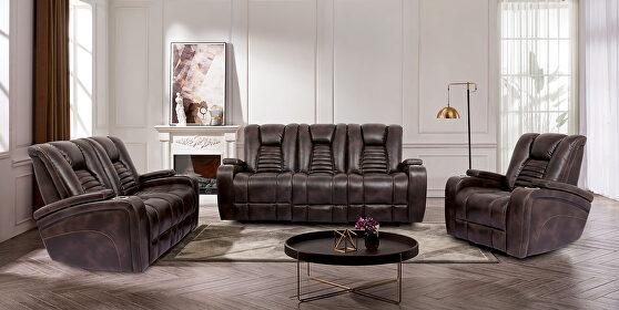 Rich dark brown faux leather power recliner sofa