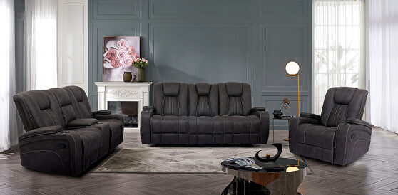 Luxurious comfort and contemporary style dark gray power recliner sofa