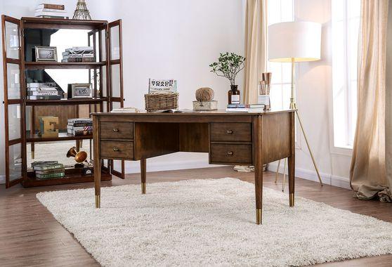Transitional antique oak finish computer desk