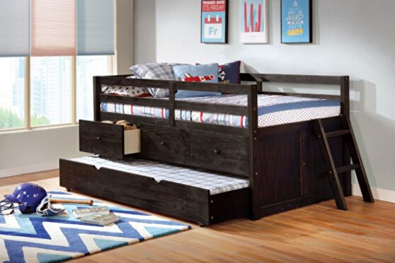 Wire-brushed black loft-style design twin bed