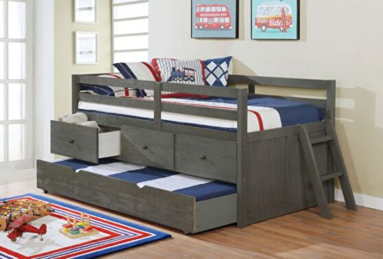 Wire-brushed gray loft-style design twin bed