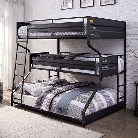 Black metal construction full/twin/queen bunk bed