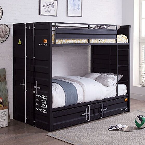 Black metal construction twin/twin bunk bed w/ trundle