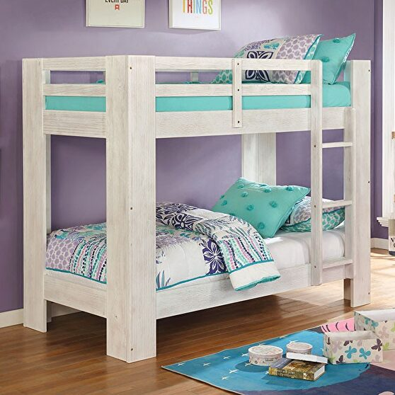 Wire-brushed white solid wood twin/twin bunk bed