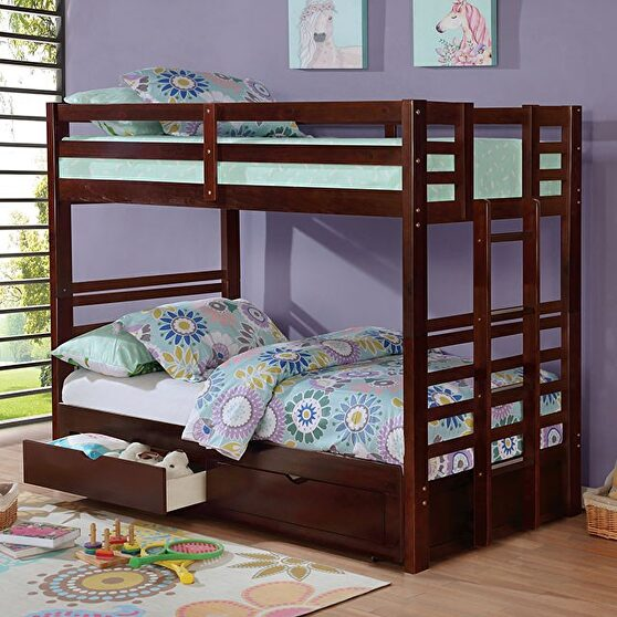 Dark walnut finish solid wood twin/twin bunk bed