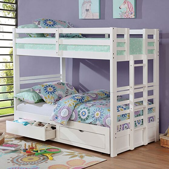 White finish solid wood twin/twin bunk bed