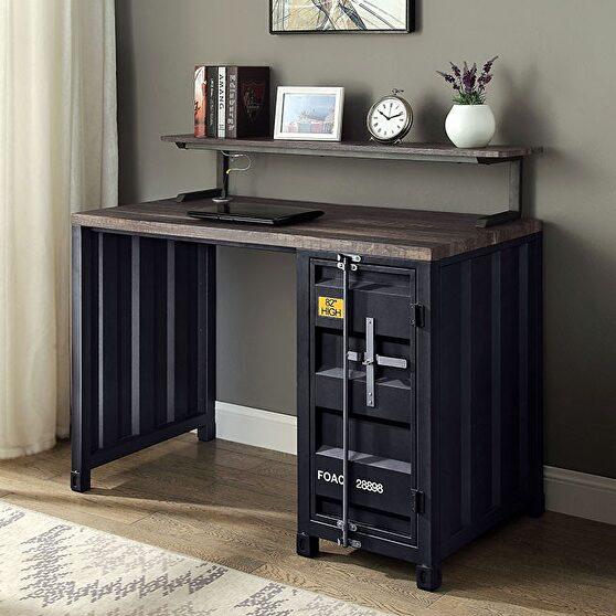 Black/ distressed dark oak desk industrial computer desk