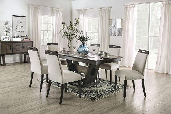 Beige/ gray wood grain finish dining table