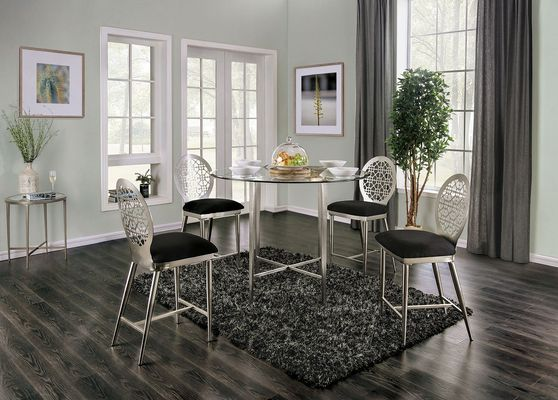 All metal round dining table with glass top