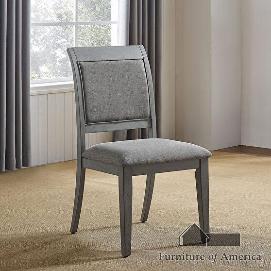 Modern rustic flair gray wood grain finish dining chair