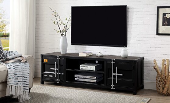 Metal frame construction and distressed dark oak TV stand