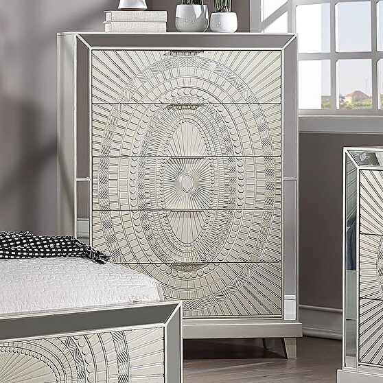 Champagne decorative pattern glam style chest