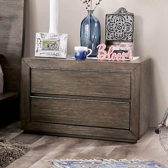 Light walnut textured wood grain transitional nightstand