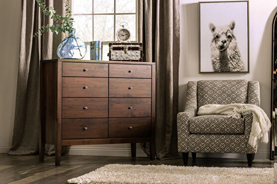 Espresso durable lacquer top coat mid-century modern 8-drawer chest