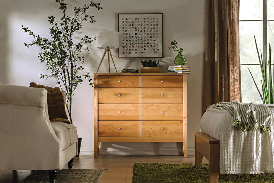 Light oak durable lacquer top coat mid-century modern 8-drawer chest
