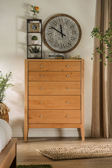 Light oak durable lacquer top coat mid-century modern 5-drawer chest