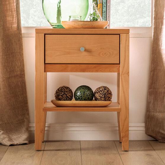 Light oak durable lacquer top coat mid-century modern nightstand