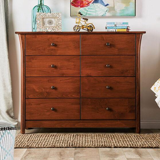 Dark cherry solid wood mid-century modern 8-drawer chest