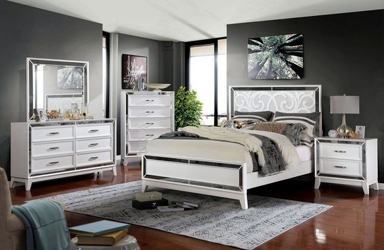 White/mirrored contemporary style inlay king bed