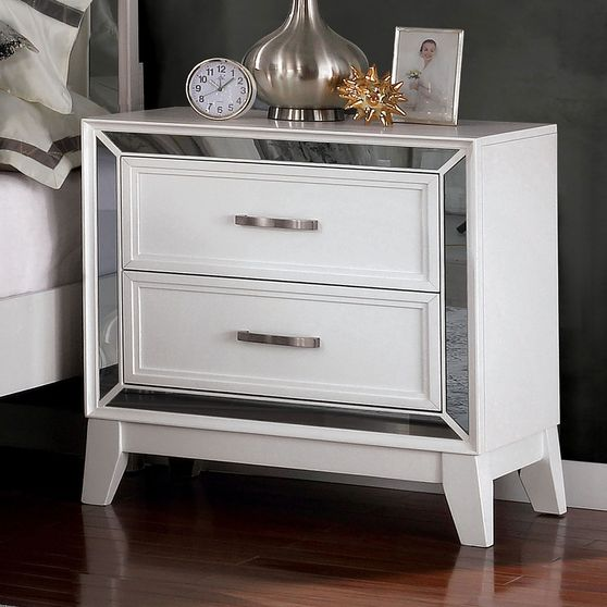 White/mirrored contemporary style night stand