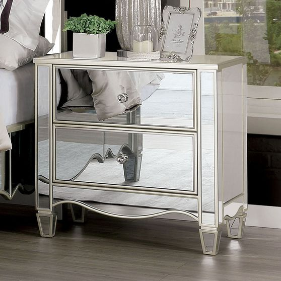 Glamour glam style silver / mirrored night stand