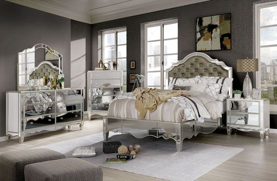 Glamour glam style silver / mirrored queen bed