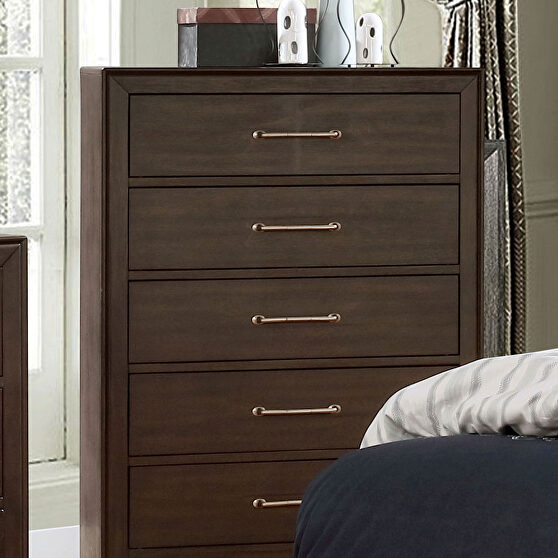 Walnut/ light brown solid wood transitional chest