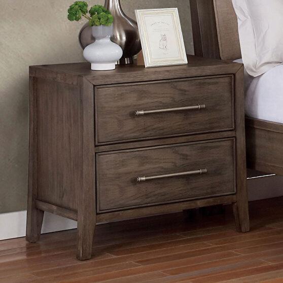Warm gray/ beige wood grain finish transitional nightstand