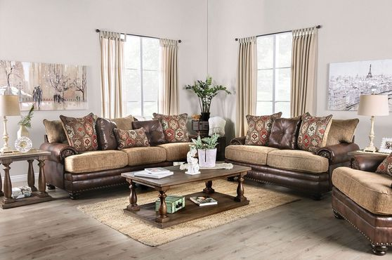 US-made oversized brown / tan casual style sofa
