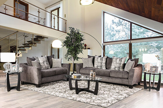 Sophisticated and smoky gray upholstery contemporary sofa