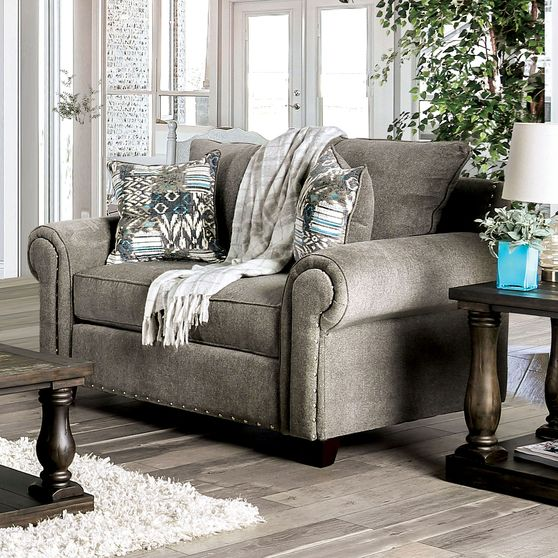 Gray Chenille Transitional Loveseat made in US