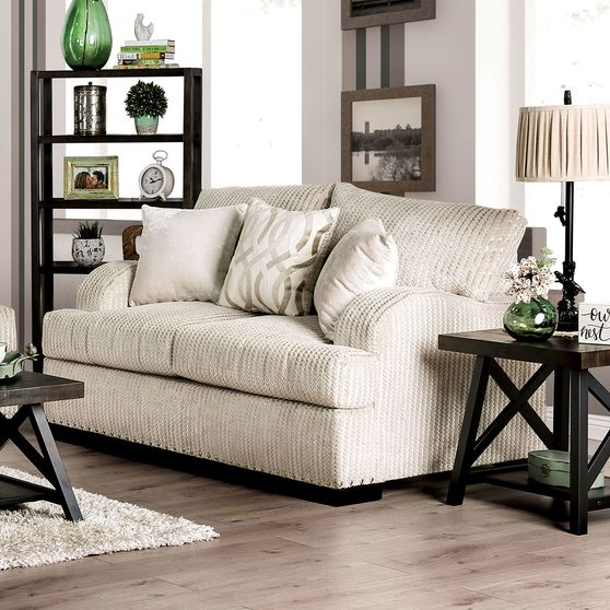 Golden Ivory Contemporary Loveseat made in US