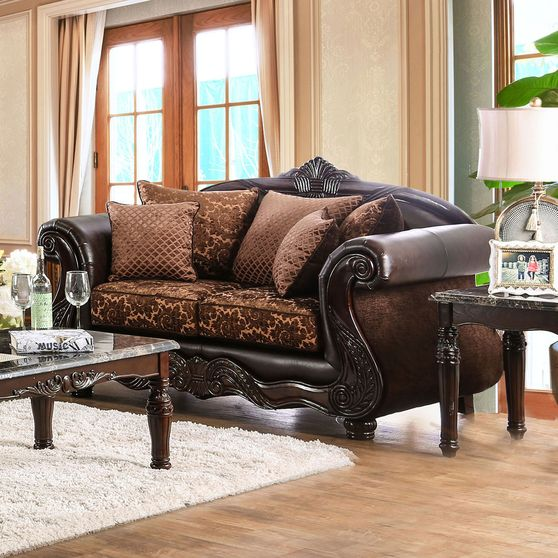 Brown/Espresso Traditional Loveseat made in US