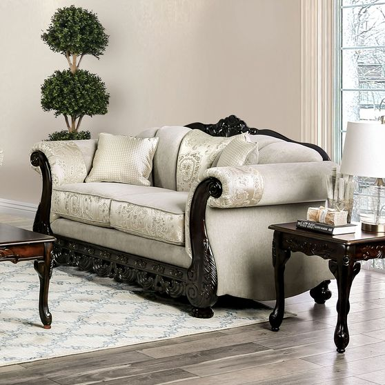 Ivory Traditional Oversized Loveseat made in US