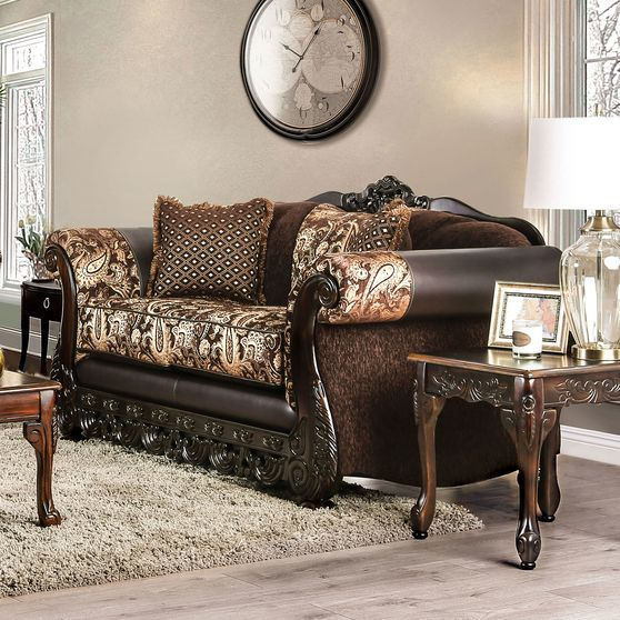 Brown Traditional Oversized Loveseat made in US